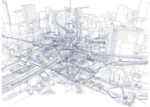X-Ray isometric drawing of Shibuya station by Tomoyuki Tanaka. Via wired.com
