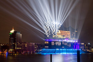 The opening light show at the Elbphilharmonie on January 11, 2017